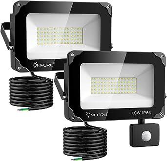 Onforu 2× 60W Foco Exterior LED con Sensor de Movimiento, 6000LM ...