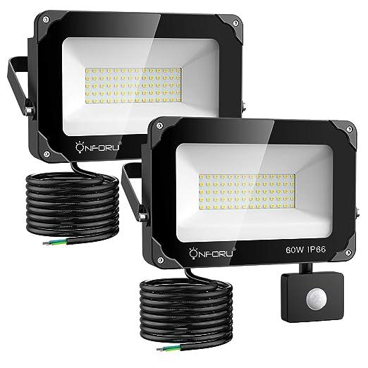 Onforu 2× 60W Foco Exterior LED con Sensor de Movimiento, 6000LM IP66 Impermeable Proyector Foco LED, Iluminación de Seguridad con Detector, Igual a ...