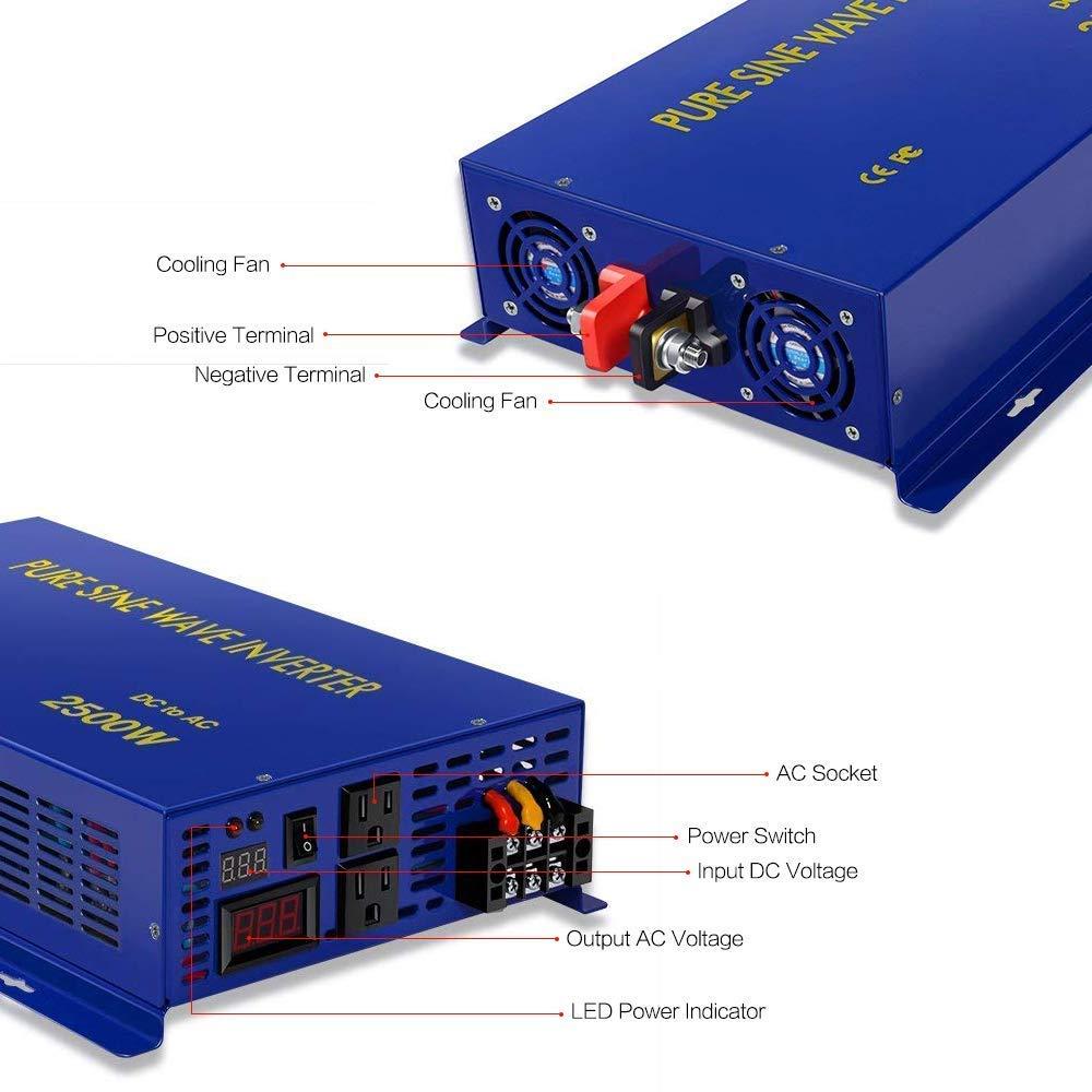 2500 Watt Pure Sine Wave Inverter 24v Dc To 120v Ac 5000w High Power Amplifier Circuit Electronic Design 2500w Invert Surge Converter For Solar System Car Electronics