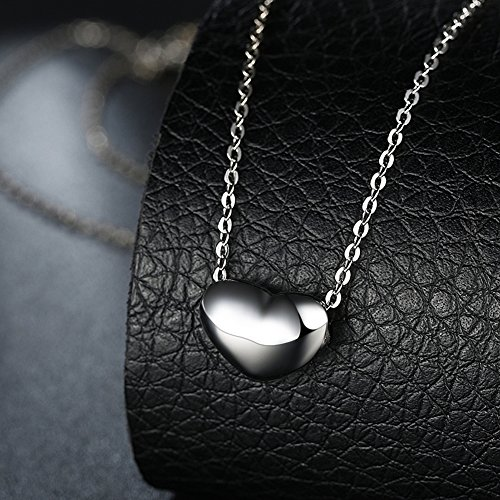 (Metmejiao Women Girls Heart Necklace Platinum /18K Gold Love Heart Pendant with Rolo Chain)