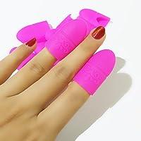 Coscelia 10 pc Silicona Nail Art Belleza Equipo Soak Off Cap Clip Gel UV Nail Polish Remover (rojo ligero)