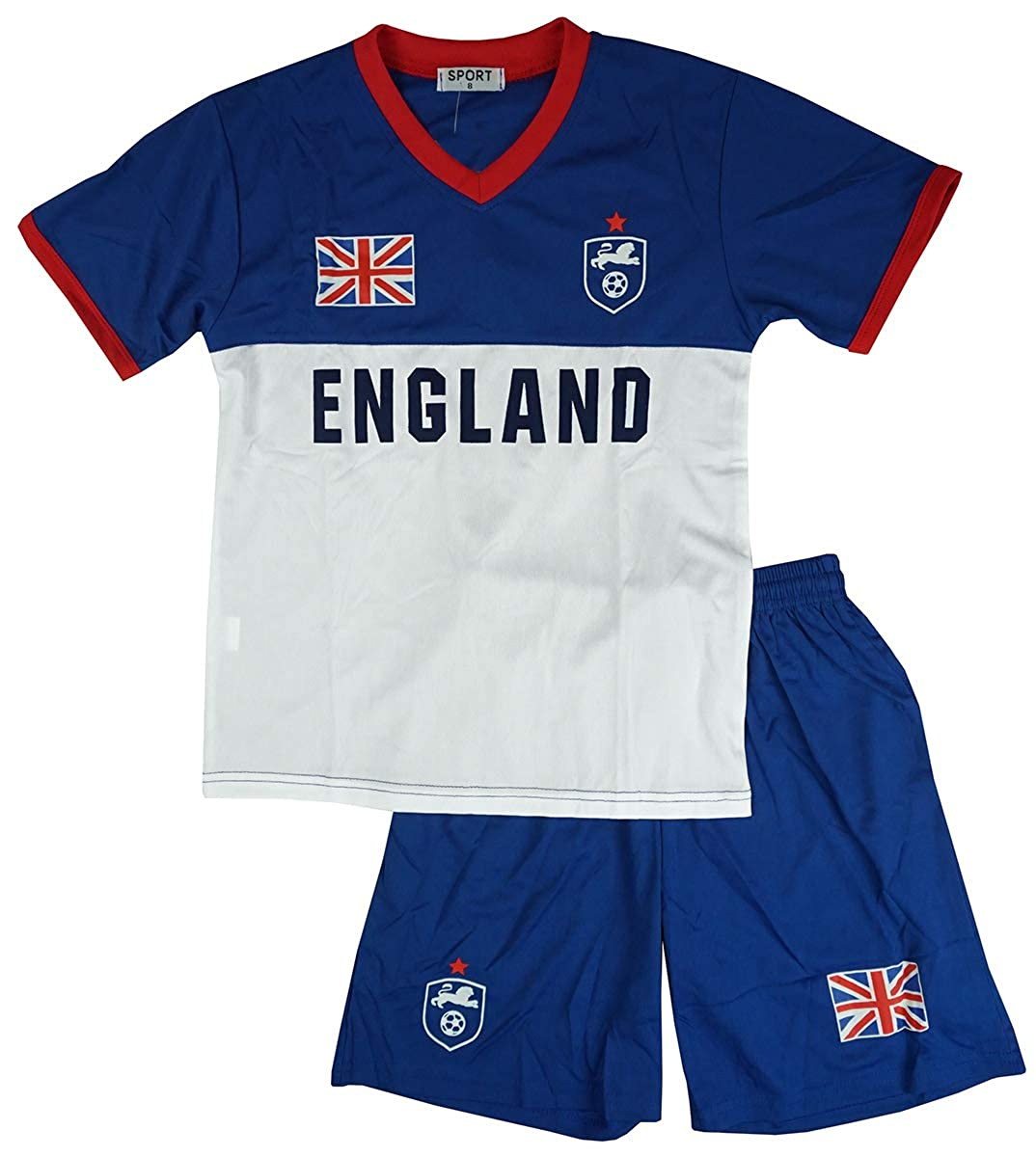 Boys Football Sports England T-Shirt V-Neck Top /& Shorts Set Kit Sizes from 2 to 14 Years