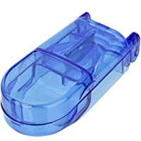 MagiDeal Rectangle Pill Cutter Storage Compartment Box Divider Blue Medicine Holder