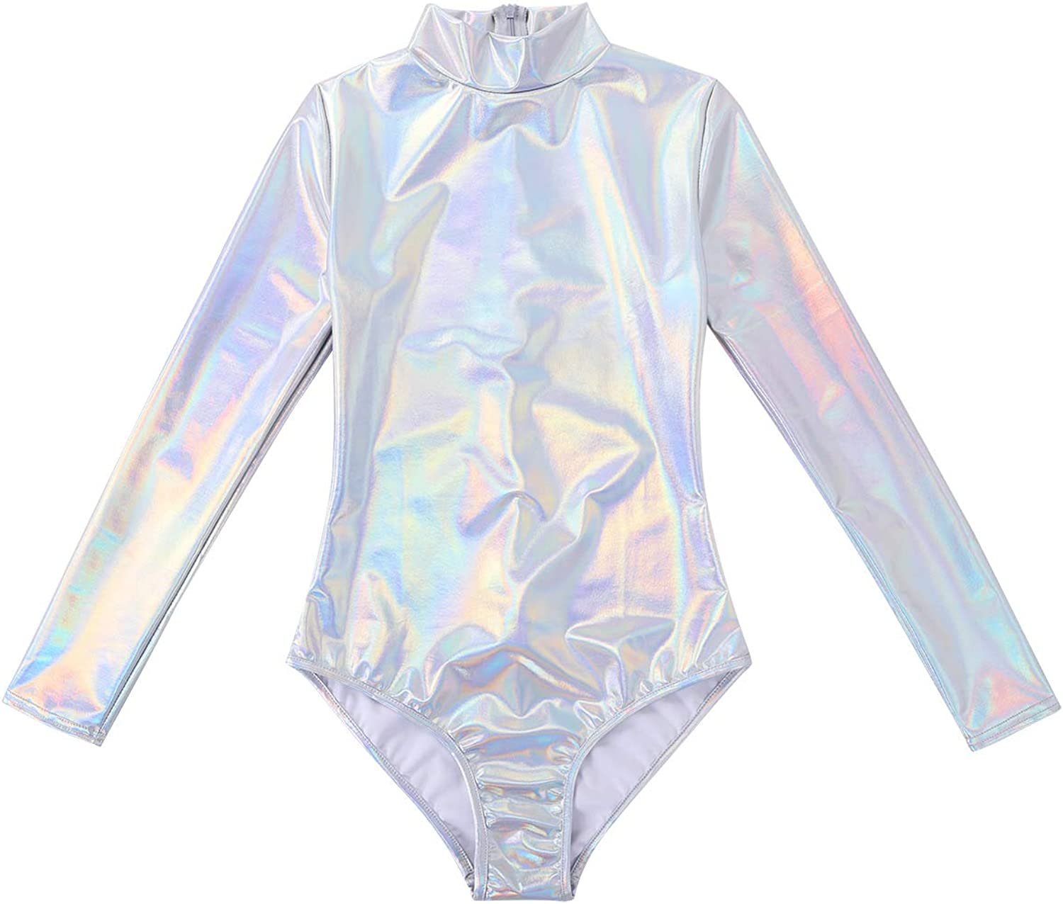 Femmes Pvc Pu Wet Look manches longues Stretch Body Justaucorps Plus Taille 8-22