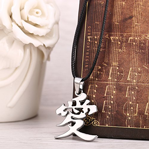 Kurop Stainless Steel Ai Love Kanji Japanese Chinese Character Necklace Pendant by Kurop (Image #3)