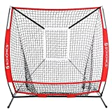 SONGMICS Baseball Net, Portable Softball Net, with Carry Bag, Ground Stakes, for Hitting and Batting Practice, Red, USBN55RD
