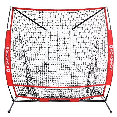 SONGMICS Baseball Net, Portable Softball Net, with Carry Bag, Ground Stakes, for Hitting and Batting Practice, Red, USBN55RD by SONGMICS