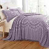 Brylanehome Georgia Cotton Throw Bedspread (Lavender Gray,Queen)