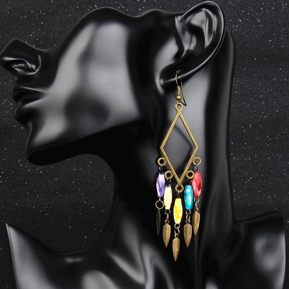 Bohemia Retro Rhombic Natural Measle Beads Tassel Drop Earrings for Women Girls Party Holiday Gifts