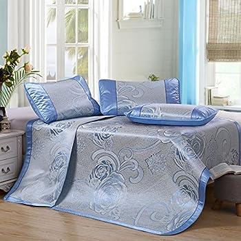 Zhiyuan Folding Non-Slip Jacquard Flower Silky Synthetic Rattan Cooling Summer Sleeping Mat Pillowcases Set,Queen,Light Blue