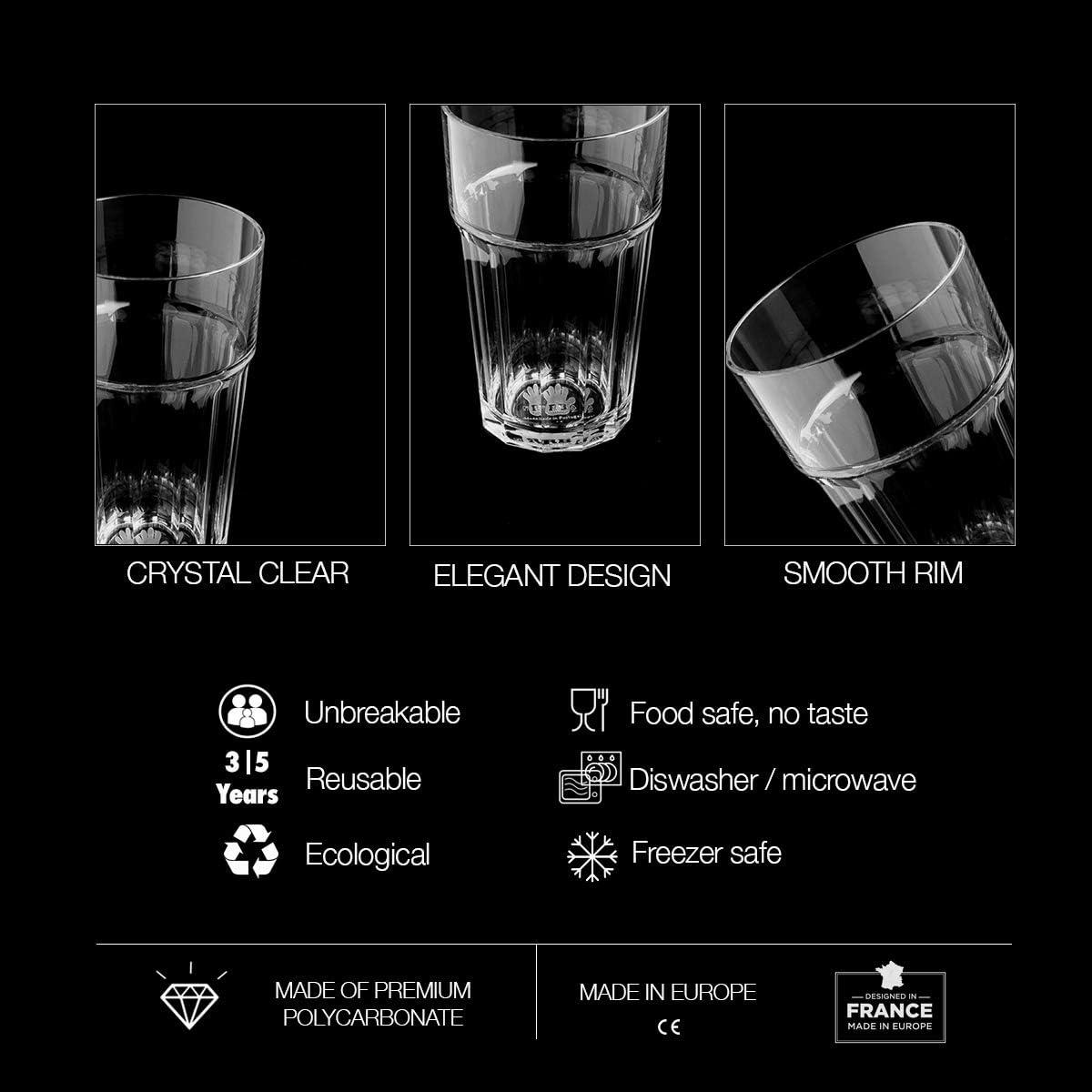 RB Vasos Apilables Plástico Premium Irrompible Reutilizable 25cl ...