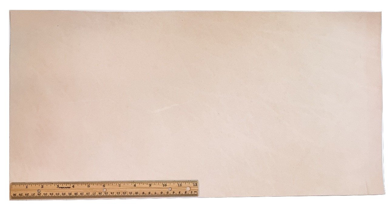 Tooling Leather Natural Topgrain Veg Tan Light Weight 3-4 oz, 12'' x 24'' Piece, 2 Square Feet