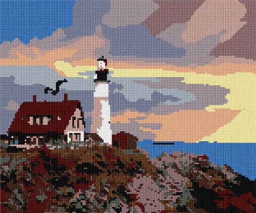 pepita Lighthouse At Sunset Needlepoint Canvas