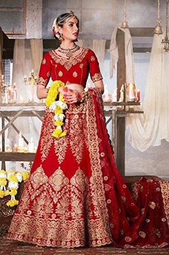 PCC Womens Velvet Fabric Red Pretty Unstitched Lehenga Choli 83745