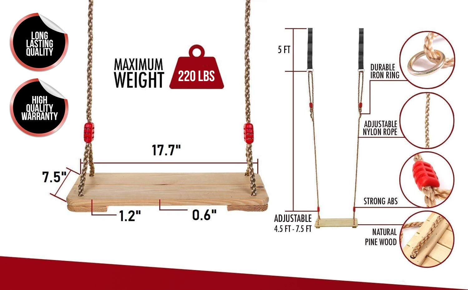 220 lbs Capacity Pine Wood for Oak Branch Hanging Wooden Tree Swings for Adult Kids Children Teen with Straps 17x 7 Classic Swing Seat with Adjustable 90 Length Nylon Rope for Playground Home
