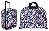Ever Moda Peacock Feather 3-Piece Carry On Luggage Set with Wheels for Travels
