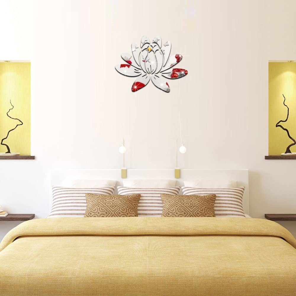 ufengke 3D Lotus Flower Mirror Effect Wall Stickers Fashion Design Art Decals Home Decoration Silver