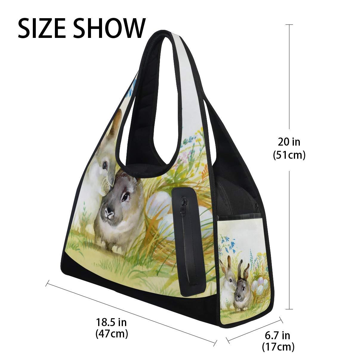 Gym Bag Sports Holdall Easter Bunny Egg Watercolor Canvas Shoulder Bag Overnight Travel Bag for Men and Women