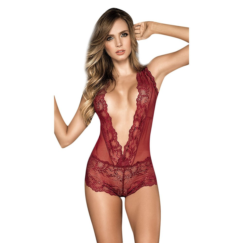 Anewoneson Women Snap Crotch Bodysuit Lingerie Deep V Plunging Teddy Lace Backless Teddy (S, Red1)