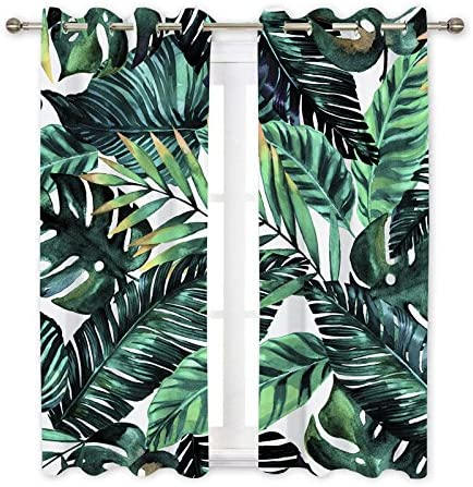 Ormis Tropical Palm Leaves Blackout Curtains 2 Panel