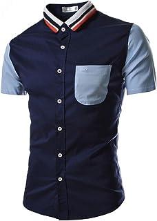 Chemises Homme Chemises BoutonnéEs Chemise à Manches Courtes pour Hommes Occasionnels HCFKJ - MS