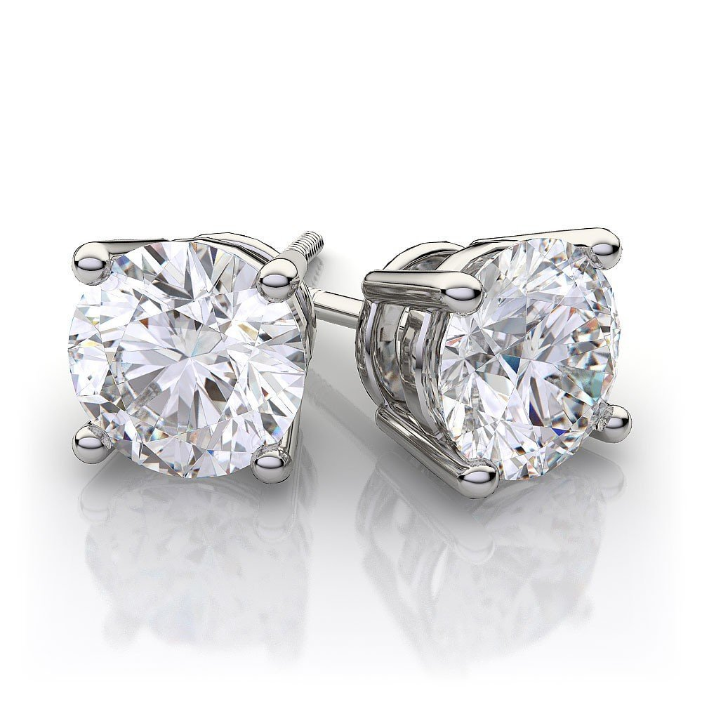 Charles and Colvard 6.0mm Round Moissanite Screw Back Prong Set solid 14K White Gold Stud Earrings