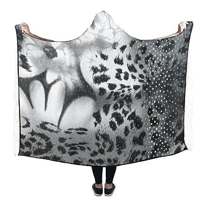 Amazon InterestPrint Fleece Hooded Blanket Leopard And Flower Cool Mens Throw Blanket