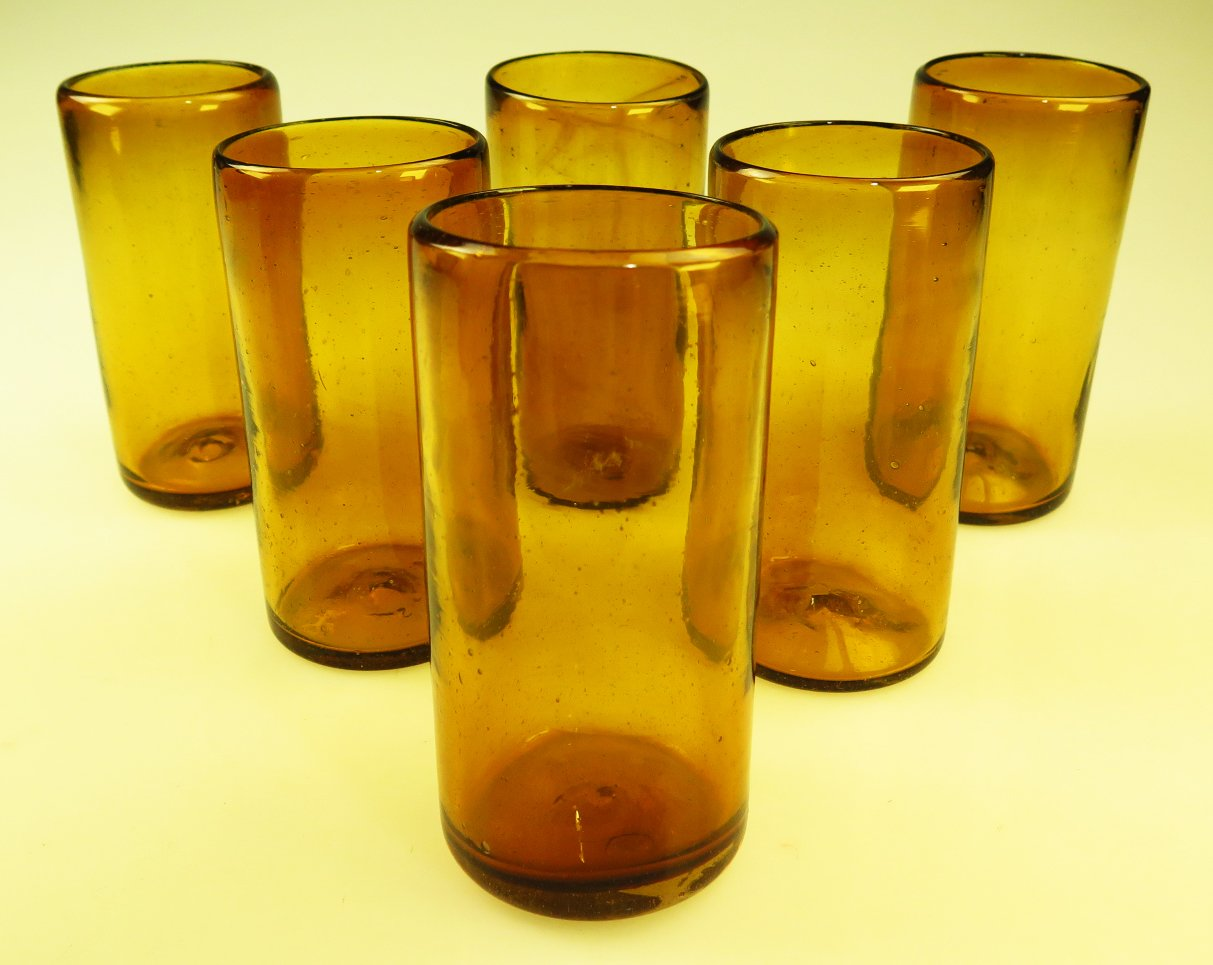 Mexican Glasses Solid Amber Tumblers, Set of 6