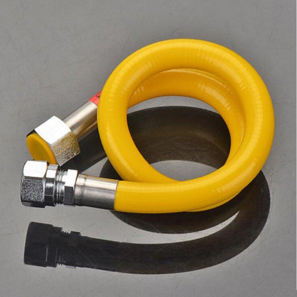 Wddwarmhome 304 tubo di gas naturale dell'acciaio inossidabile del soffitto del soffitto del gas del tubo flessibile del metallo 2.5M (dimensioni   Screw thread+plug type)