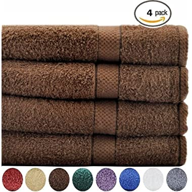 Cotton Bath Towels 4 Pack Brown - (30 Inch x 56 Inch) 100% Ringspun Cotton for Maximum Softness and Absorbency - by Utopia Towels