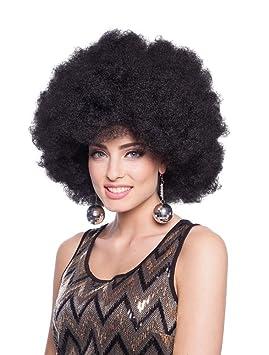 Peluca XXL Negra Disfraz Carnaval Halloween Accesorios Disco