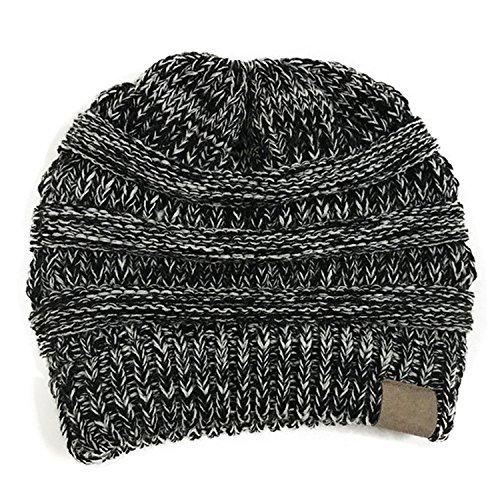 invierno oscuro cola la HMILYDYK suave mujeres Cap DARKGREY para elástico Blanco de Knit Sombreros Negro Beanie cable otoño Ponytail para GUTAILHAT cabeza Bun Gris pañuelo Messy r6gq6wYU