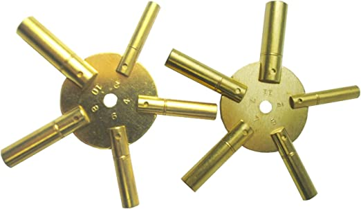 5025 5 Odd /& 5 Even Sizes 2 to 11 from Brass Blessing 10-Size Solid Brass Clock Winding Keys