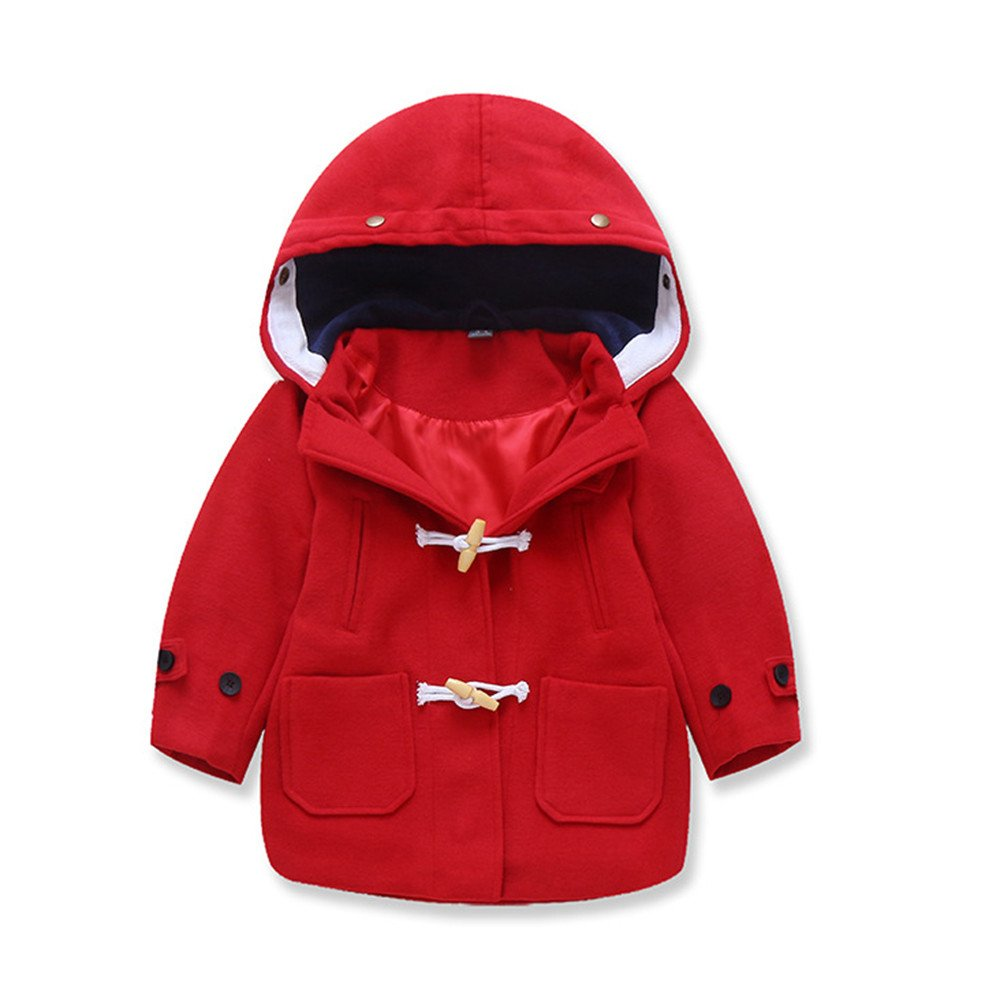 Toddler Kids Baby Boys Autumn Winter Unique Button Hooded Coat Cloak Jacket Thick Warm Clothes XoiuSyi Cotton