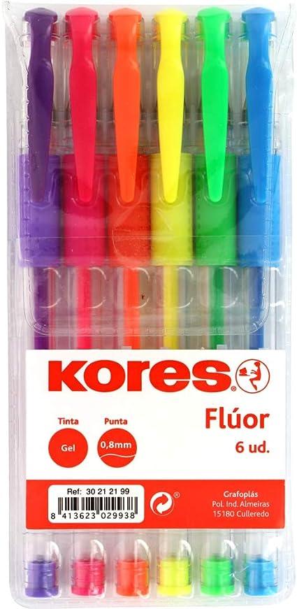 Kores. 30212199. Pack de 6 Bolígrafos de Tinta Gel Flúor, BG4, Punta 0,8mm, Colores Surtidos: Amazon.es: Oficina y papelería