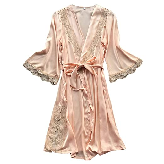 Amazon.com: Womens Lace Trim Kimono Robe Nightwear Nightgown Sleepwear Satin Short Robe: Clothing