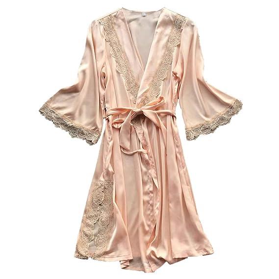 RISTHY Batas de Baño Albornoz de Satén Mujer Vestidos Sexy Batas de Casa Kiomono Pijama Color