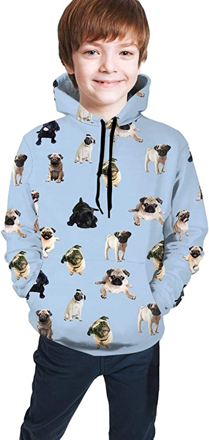 Boston Terrier Dog Outdoors Hooded Sweatshirt Casual Pullover Hoodie for Teens NEPower Sweater for Boys Girls