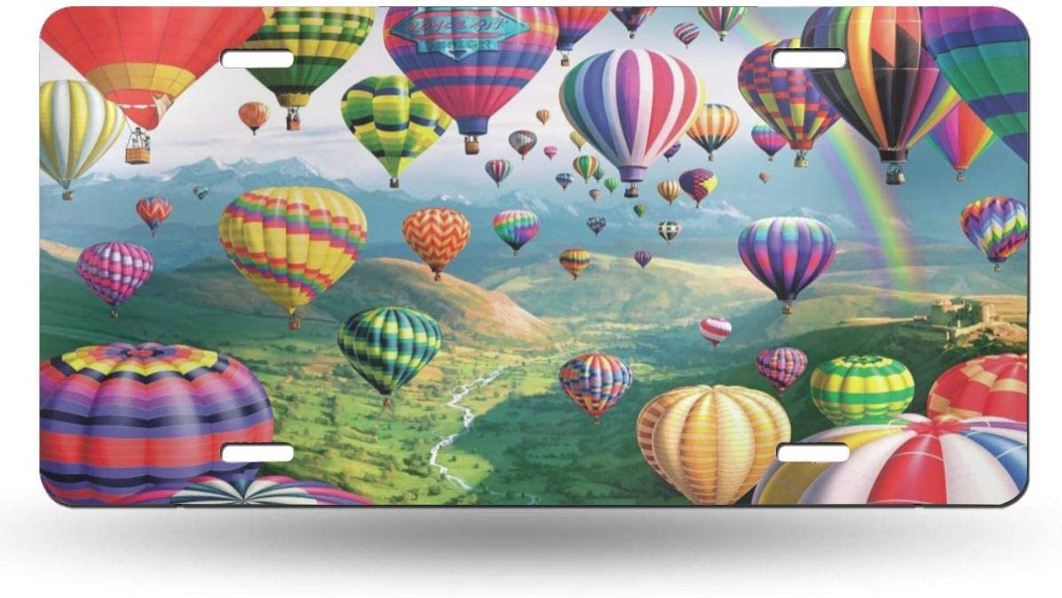 6 X 12 Aluminum License Plate Front License Plate Hot Air Balloons Drawing Customized USA Car Tag Miniisoul Wall Decoration License Plate Personalized