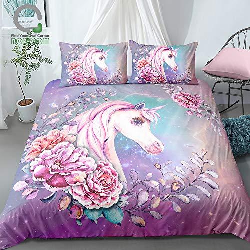 Olwen Shop Bedding Sets - 3D Digital Printing Galaxy Background Watercolor Hand Drawn Floral Unicorn Bedding Set 100% Microfiber Pink (Sheet Top Kidsline)