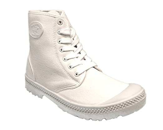 Womens Canvas Military Boots White 190512CB