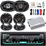 JVC CD/MP3/WMA Receiver Bundle Combo With 2x CSDR6930 6x9 3-Way Stereo Coaxial Speakers, 4x CSDR620 6.5 2-Way Audio Speaker, 400w 4-Chan Bluetooth Amplifier w/ Enrock Installation Kit