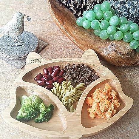 Assiette /à ventouse pour b/éb/é plat d/'alimentation /à ventouse en bambou naturel En forme de t/ête de renard