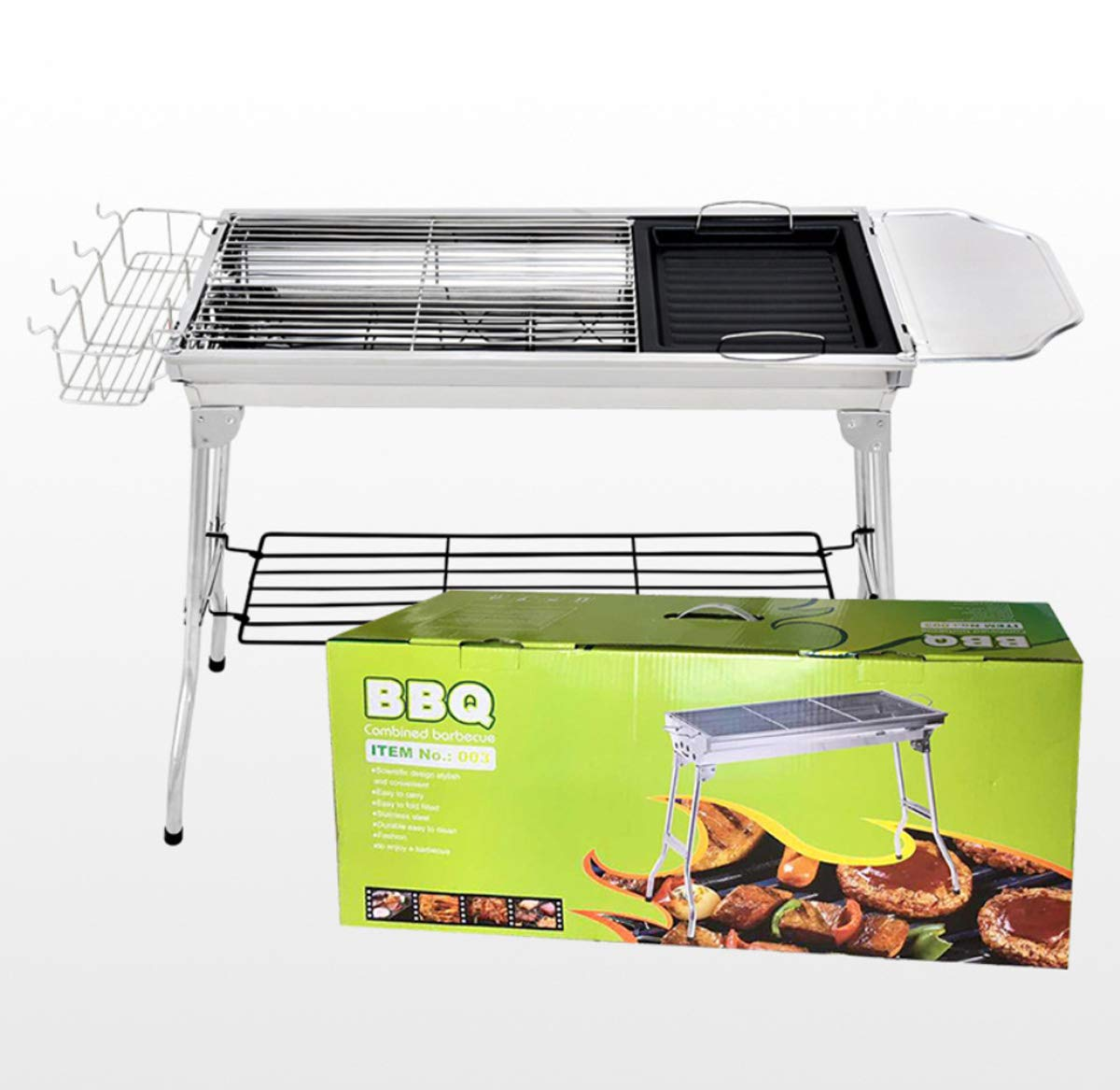 ZXMXY BBQ Grill Outdoor-Holzkohle Edelstahl Grill Carbon-Ofen Portable Zusammenklappbare Grill (73  33,5  70Cm)