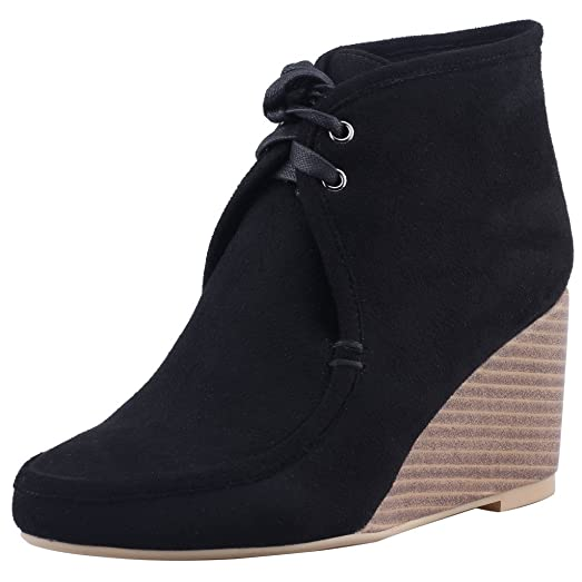 Womens Caanywhere Round Toe 8.5CM Wedge Heel Self Tie Boots Shoes