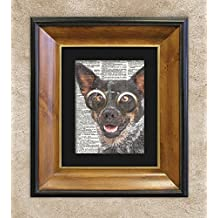 Vivacious Australian Cattle Dog in Goggles, Dictionary Dog Print, Dog Wall Art