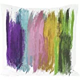 Cuscino decorativo Colourful Brushstokes moderno design geometrico acquerello cover in viola blu rosa giallo verde 45,7x 45,7cm morbido misto lino