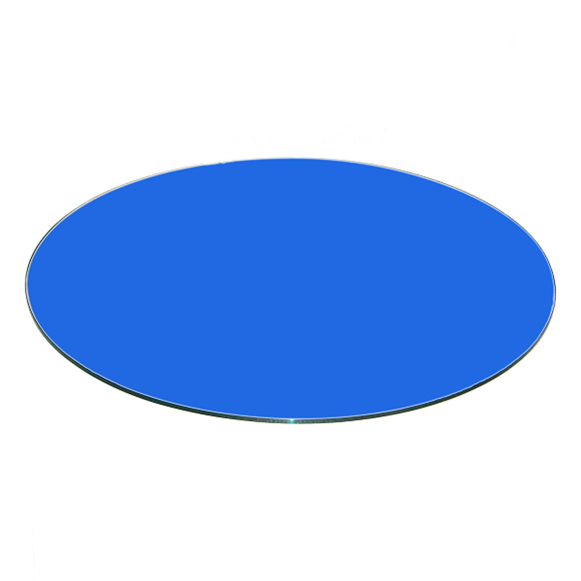 Fab Glass and Mirror 3/8'' Thick Flat Tempered Round Glass Table Top,  22'',  Blue