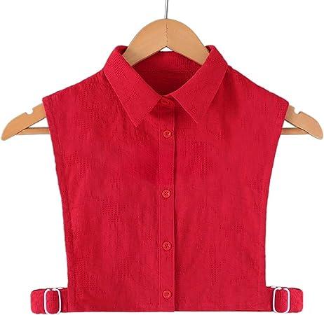 Cuello de camisa de encaje para mujer, encaje de crochet, color rojo, cuello falso, con botones y volantes 1: Amazon.es: Hogar