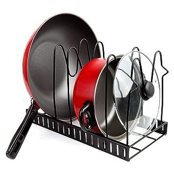 ZHESHEN Soporte Para Sartén 5 Niveles Organizador De Sartenes Sartenero  Ajustable Estanterías Para Cocina Para Organizar Bandeja De Despensa Y Tapa  De Olla ... 9ed68dba56ce
